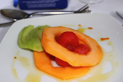 Chilled Trio of Melon with Orange Syrup. Served in Living Coasts in Torquay. 18/09/11