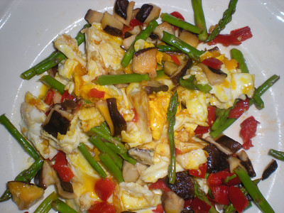 Shiitake, Asparagus, Red Peppers & Eggs