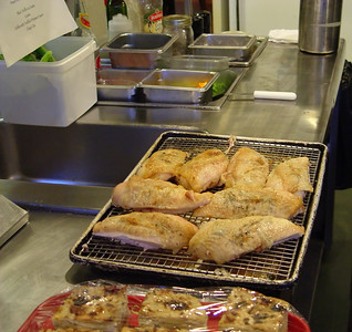 Chicken breasts roasted on the bone then removed. They were marinated overnight with Oregon Winter White Truffle butter under the skin