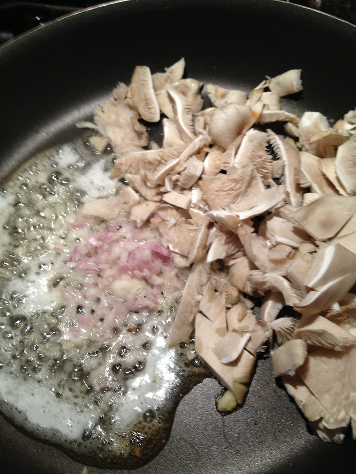 Sautee the shallots & shrooms together til they get a little brown. Add salt and pepper.