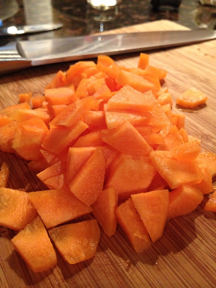 Chop your carrots in a thin quarter dice- chop evenly so they all cook consistently.