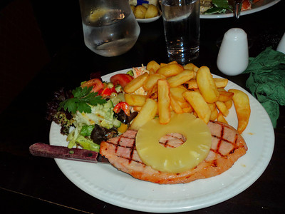 "Gammon Steak with Pineapple, served with chips and salad. £9.55  Served in ""Two Mile Oak"" near Newton Abbot.    28/05/11"
