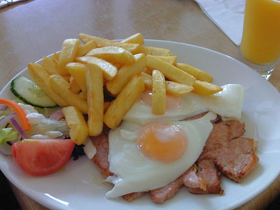 "Gammon, Egg & Chips for £7.50. Served in ""The Driftwood Cafe"" in Blue Anchor 12/06/11"