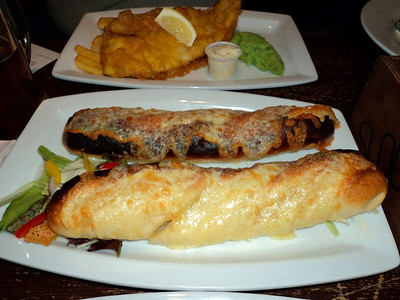 """Garlic bread topped with cheese. Served in """"The Sloop"""" in St Ives  14/06/14"""