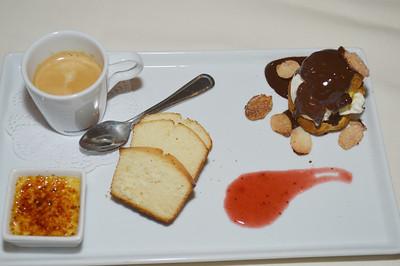 Dessert sampler; creme brûlée, profiterole, lemon pound cake, espresso