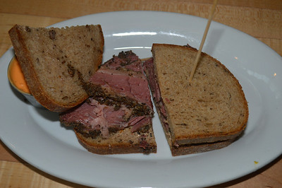 Pastrami and chopped chicken liver