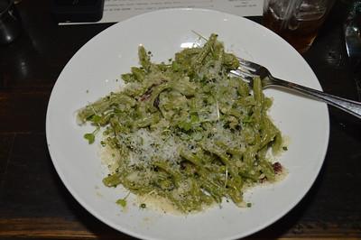 Strozzapreti; carbonara, pancetta, spring peas, cured egg yolk
