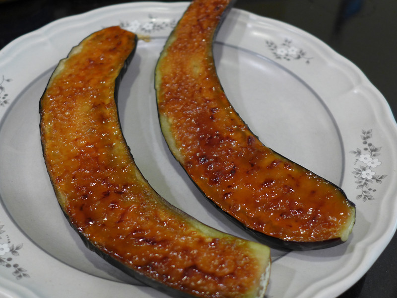 """<h1 style=""""text-align:center;"""">Nasu Dengaku</h1><h2 style=""""text-align:center;"""">(Japanese Eggplants Broiled with Miso)</h2> This is a fabulous recipe from Susan Voisin (Fat Free Vegan Blog).   It's a very simple dish where Japanese eggplants are broiled, spread with a sweetened miso mixture, and then broiled again for a few seconds. The results are creamy, smoky eggplant with a sweet and salty sauce that will makes you want to just lick the sauce off the eggplant and then go put some more on, to lick off again!!     <b><u><a href=""""http://blog.fatfreevegan.com/2007/06/nasu-degaku-japanese-eggplants-broiled.html"""">Recipe here</a></u></b>.  <b><u><a href=""""http://nc-hiker.smugmug.com/Food/Food-All-Recipes/30382827_PxxB5m#!i=2634111381&k=SBNR7JC&lb=1&s=A"""">Japanese Eggplants</a></u></b> are different from their more traditional cousins:  They are long and slender, as opposed to shorter and squater.  They are usually much less bitter since they have much fewer seeds, sometimes no seeds at all.  They grill or broil up in minutes as the recipe above shows."""