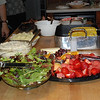 Liz's H.S. graduation meal:  salad, fresh fruit, plain & garlic mashed potatoes, corn and ribs<br /> June 12, 2010