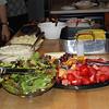 Liz's H.S. graduation meal:  salad, fresh fruit, plain & garlic mashed potatoes, corn and ribs<br /> June 12, 2010
