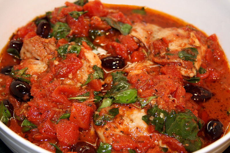 """Provencal Chicken with Tomatoes, Olives, and Basil<br /> <br /> Epicurious.com - <a href=""""http://www.epicurious.com/recipes/food/views/Provencal-Chicken-with-Tomatoes-Olives-and-Basil-238795"""">http://www.epicurious.com/recipes/food/views/Provencal-Chicken-with-Tomatoes-Olives-and-Basil-238795</a>"""