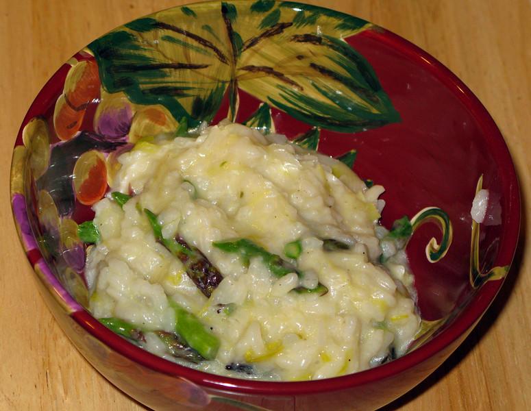 "Asparagus & Leek Risotto<br /> <br />  <a href=""http://www.cooksillustrated.com/recipes/login.asp?docid=13074&Extcode=L0DN5AA00"">http://www.cooksillustrated.com/recipes/login.asp?docid=13074&Extcode=L0DN5AA00</a>"