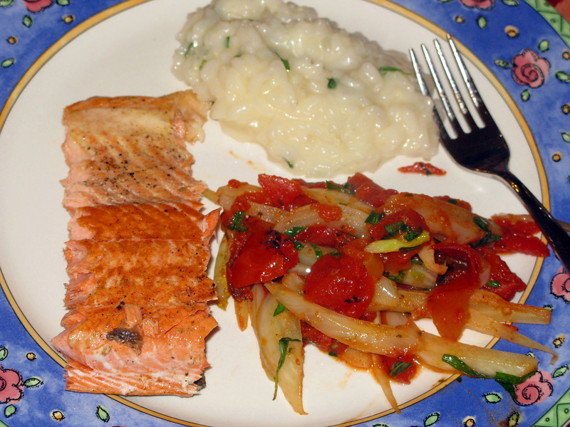 """Fillet of Salmon with Fennel, Tomatoes, and Risotto<br /> <br />  <a href=""""http://www.epicurious.com/recipes/food/views/Fillet-of-Salmon-with-Fennel-Tomatoes-and-Risotto-239837"""">http://www.epicurious.com/recipes/food/views/Fillet-of-Salmon-with-Fennel-Tomatoes-and-Risotto-239837</a>"""