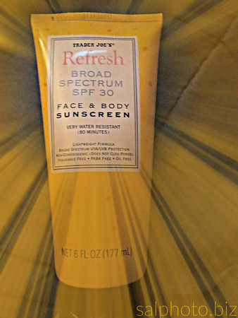 Trader Joe's Refresh Broad Spectrum SPF 30 Face & Body Sunscreen Very Water Resistant (80 Minutes)  $14.30http://www.amazon.com/Trader-Joes-Spectrum-Sunscreen-Resistant/dp/B00D14JPFSAbout the Product    Lightweight Formula    Broad Spectrum UVA/UVB Protection    Non-Comedogenic (Does Not Clog Pores)    Fragrance Free, PABA Free    Oil Free