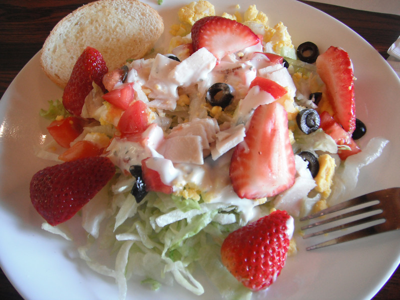 """Salad with various fixings (Strawberry, turkey slices, boiled egg parts, olives, etc..) at my workplace on May 2013<br /> <br /> more...<br /> <a href=""""http://www.foodnetwork.com/recipes/robin-miller/turkey-mixed-greens-salad-with-strawberries-kiwi-and-cashews-in-honey-sesame-dressing-recipe/index.html"""">http://www.foodnetwork.com/recipes/robin-miller/turkey-mixed-greens-salad-with-strawberries-kiwi-and-cashews-in-honey-sesame-dressing-recipe/index.html</a><br /> <br /> <a href=""""https://foodsofallkinds.wordpress.com/2019/03/23/various-cooked-eggs/"""">https://foodsofallkinds.wordpress.com/2019/03/23/various-cooked-eggs/</a>"""