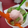 """Strawberry flavor yogurt with pineapple and kiwi at the Starberi Frozen Yogurt stand at the Minnesota State Fair (Saturday, August 24th 2013 with the high of 87 F that day, but I ate around noonish when it was a little """"cooler"""")...<br /> <br /> <a href=""""https://www.facebook.com/pages/Starberi-Frozen-Yogurt/310804018964884"""">https://www.facebook.com/pages/Starberi-Frozen-Yogurt/310804018964884</a><br /> <br /> more..<br /> <a href=""""http://events.goodnewsminnesota.info/statefair.html"""">http://events.goodnewsminnesota.info/statefair.html</a>"""
