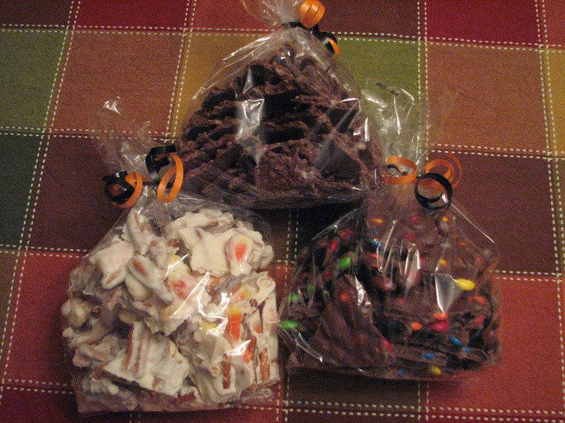 Coconut Bark, Candy Corn Pretzel Bark, and M&M Bark