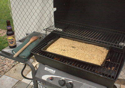 Toasting grains on the grill.  Who says you can't use a grill for brewing?