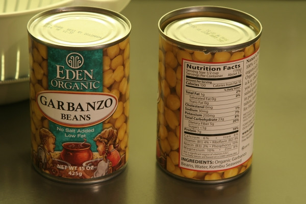 I use Eden organic garbanzo beans because they are made with very little salt. Cooking them oneself is no-salt, but it takes quite a while!