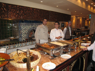 Two of the chefs (yummy felafel at the front).