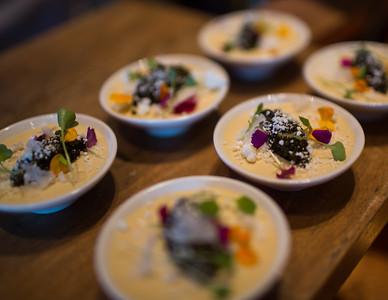 Santa Barbara Uni Panna Cotta Crema Snow, Osetra Caviar, Aji Limo, Bamba Rice Crisp