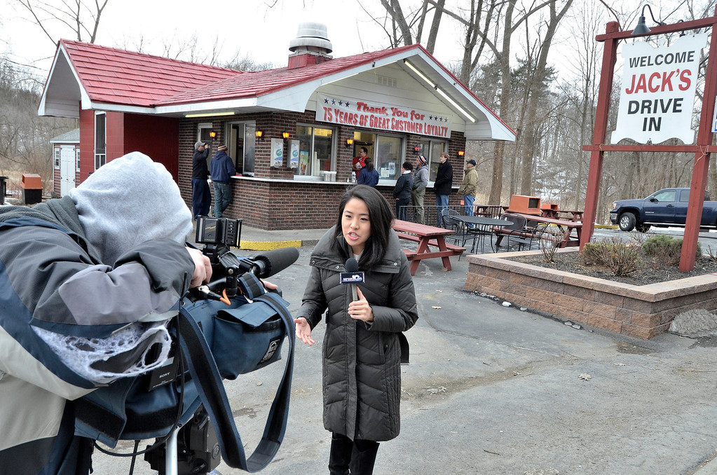 . Mike McMahon - The Record, WTEN\'s Jennifer Lee started her day broadcasting from Jack\'s at 6 am. Jack\'s Drive-In opens for it\'s 76th season in Wynantskill, Wednesday March 13, 2014.