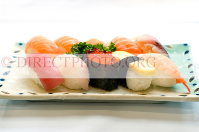 Japanese Food, Plate of Various Sushi, Sliced Raw Fish, Tuna, Salmon, Mackeral, Salmon Eggs,