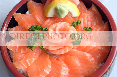 Japanese Food,  Close up Overhead View of Salmon and Rice Chirashi Bowl