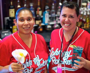 Patricia Ross with an Orange Dreamsicle Shaketini and Amanda Johnson with a Blue Blindside at the new Johnny Rockets