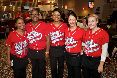 Rebekah Johnson, Rhonda Harris, Ruth Walker, Jessica Hardy and Katie Norton from Johnny Rockets at the Banks