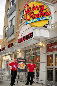 Gail and Mike welcome you to the new Johnny Rockets at the Banks
