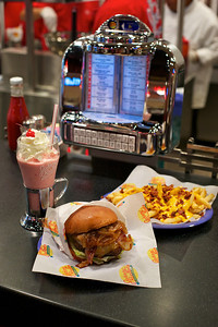 Strawberry Shake, Lotta Domata Burger and Bacon Cheese Fries