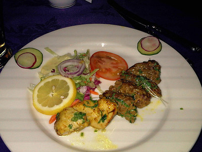 """Mixed Kebab, served in """"Cafe India"""" in Totnes 19/03/11"""