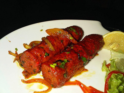 """Sheek kebab - Spicy minced lamb kebab cooked in the tandoori with Nepalese special herbs and spices.  Served in """"Gurkha Restaurant"""" in Dawlish  03/12/13"""