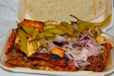 """Penzance Grill Special Kebab - Shish, Chicken, Donor & Kofte Kebab. £10.00.  Served in the """"Penzance Grill""""  28/09/12"""
