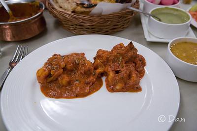 shrimp masala, chicken tikka masala