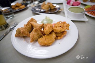 fried samosas, vegetables