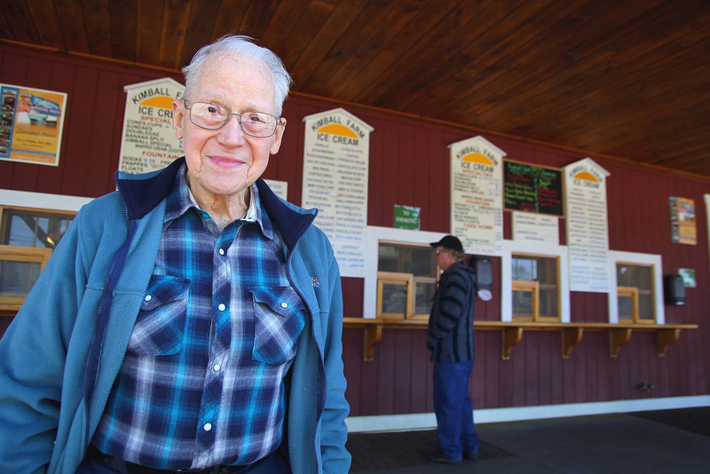 George Livermore, 90, from Lancaster visited Kimball Farm Ice Cream, on Route 70 in Lancaster, when it opened Thursday to started serving ice cream for the new season. He has been going to this Kimball's since it opened and the original one in Westford on opening day since 1939, 75 years. He said he has never missed an opening and Thursday was no different.  SENTINEL & ENTERPRISE/JOHN LOVE