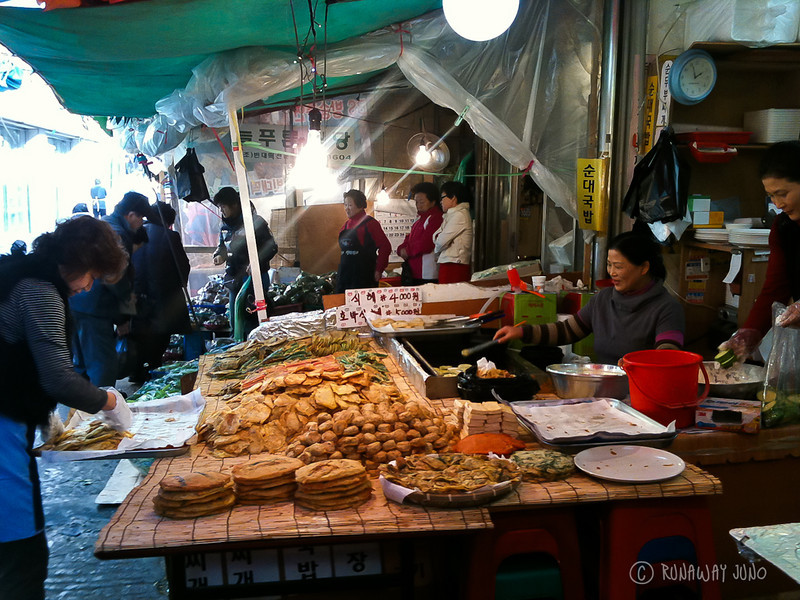 Traditional Market selling Korean food