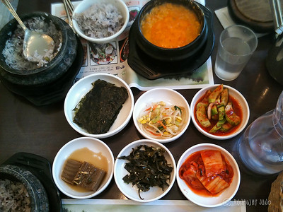 A proper Korean food table setting