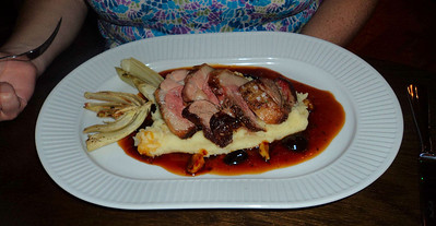"Rump of Lamb - with a potato, fennel and olive oil puree, roasted fennel and a black oilve and garlic jus. £13.95. Served in ""Cote Brasserie"" in Reading  20/08/11"