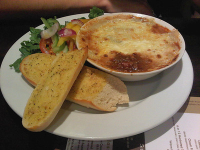 "Beef Lasagne. £8.95  Served in the ""Mercure George Hotel"" Reading 26/07/11  (Photo By S Thew)"