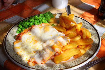 "Lasagne. £4.95. Served in ""The Signalbox Cafe"" in Totnes 06/04/13"