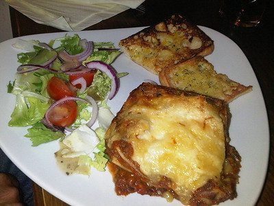 "Beef, Pork Ragu & Parmesan Lasagne, garlic ciabatta & dressed salad. £8.95.  Served in ""The Sawyers Arms"" in Paddington  21/09/13"