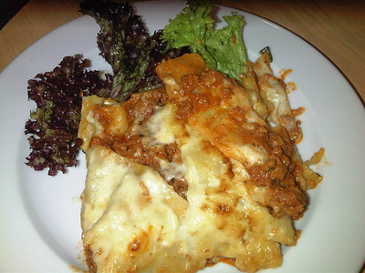 "Lasagne, Served in ""Wings Cafe"" in RAF Hendon  24/10/12"