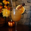 Thanksgiving type menu items being prepared at Lenzi's. Lenzi's Fall Harvest Punch, made with local cider, sparkling prosecco wine, and apple brandy, garnished with cinnamon stick, fresh orange and Concord grape. (SUN/Julia Malakie)
