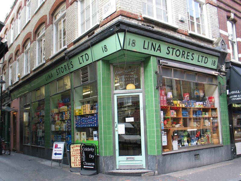 Lina Stores Deli, 18 Brewer Street Soho.