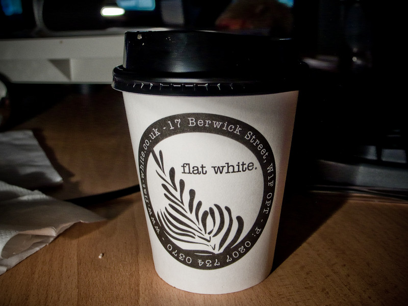 "<A HREF=""http://www.flat-white.co.uk/"">Best. Coffee. Ever.</A> They got their start in Australia and New Zealand and finally opened one up in Soho a couple years ago. It takes approximately 2 minutes to walk around the corner from work to get there, and it's been voted the Best Coffee in London, as well as Independent Coffee Shop of the Year (2007). I go there every afternoon."