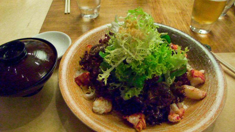 My lobster salad from Ubon by Nobu in Canary Wharf. It was a spicy lemon dressing and the lobster was a conversation stopper--I had to sit back and enjoy each bite without being bothered by my dining companions. :)