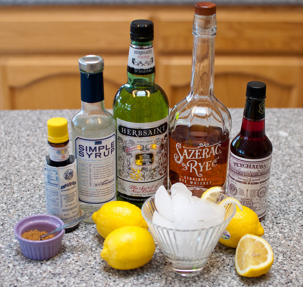 Ingredients for making a traditional New Orleans Sazerac cocktail